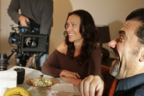 "catherine eaton on the set of ""long shot louie"""